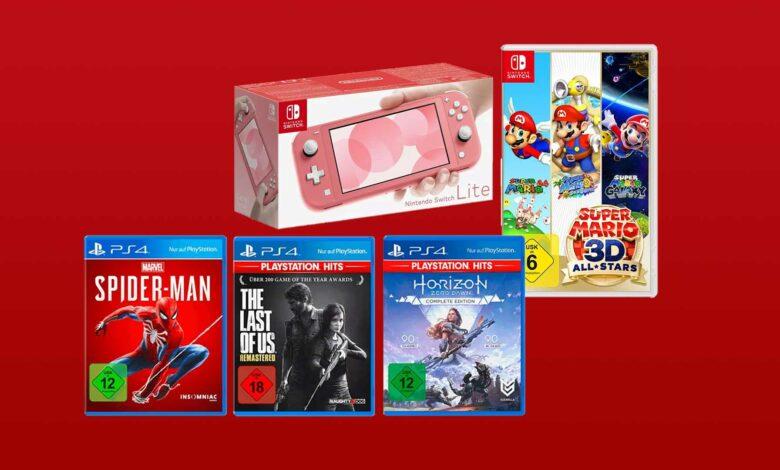 Ofertas de MediaMarkt: paquete de éxitos de Nintendo Switch Lite y PS4 más barato