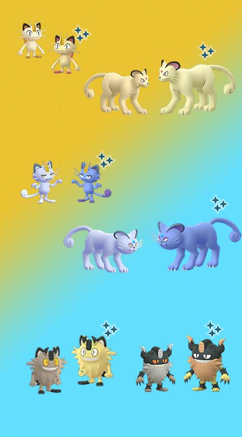 Pokémon GO Familia Meowth Brillante