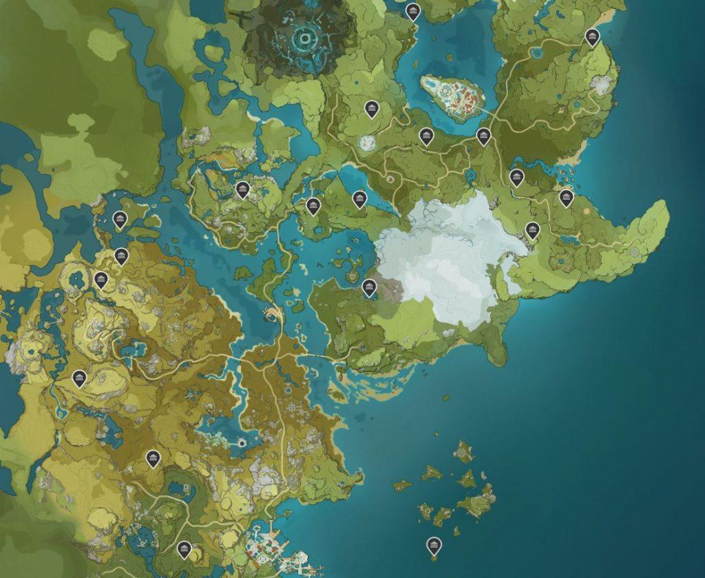 Mapa de los santuarios de las profundidades de Genshin Imapact