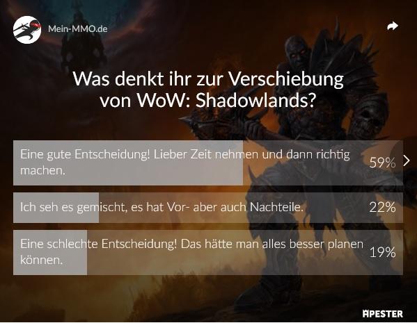 Porcentaje de WoW de elección de Shadowlands