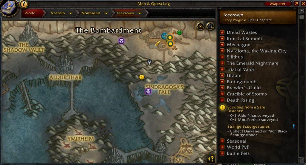 wow shadowlands antes del evento cráneos en el mapa