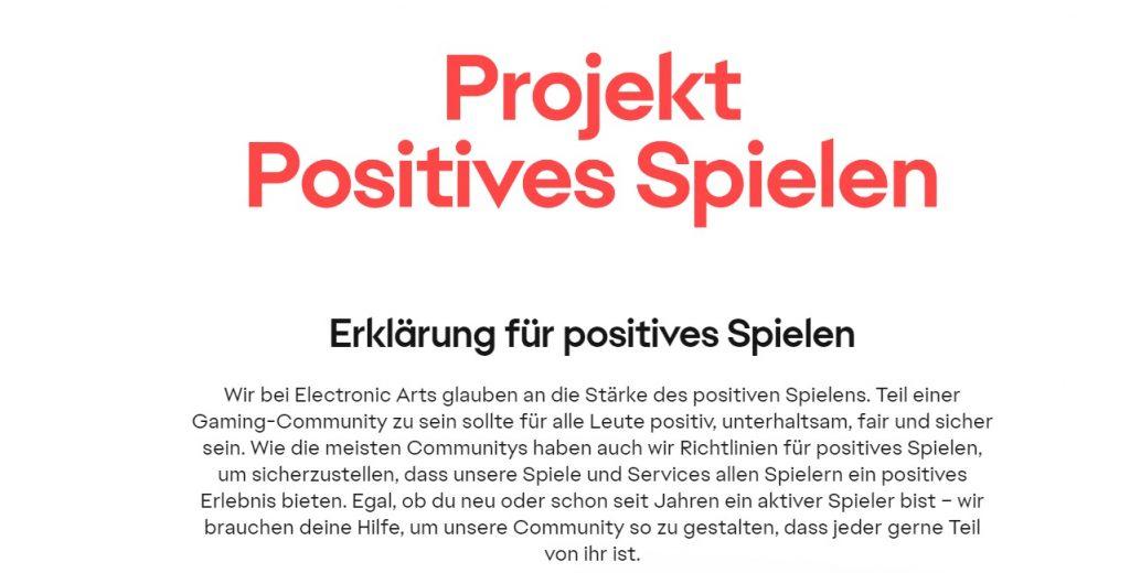 Extracto de juego positivo del proyecto EA