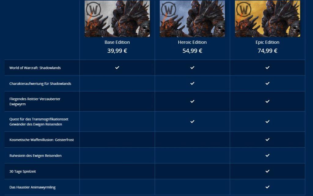 Comparación de versiones de WoW Shadowlands