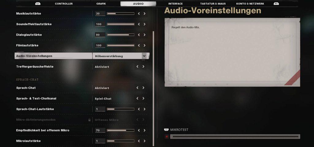 configuración de la guerra fría de bacalao preajuste de audio