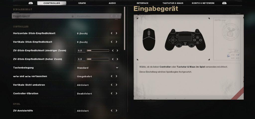 controlador de configuración de la guerra fría de cod o mouse y teclado