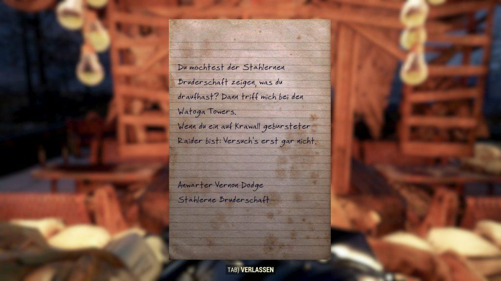 Carta de Fallout 76 BoS