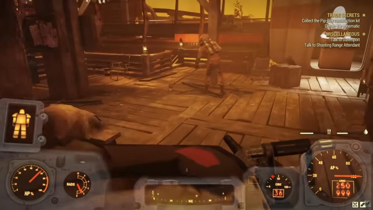 Fallout 76 NPC friega en bomba atómica