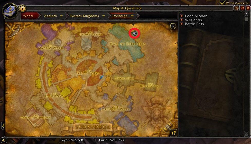 Captura de pantalla de WoW Ubicación de Krom Starkarm en el mapa