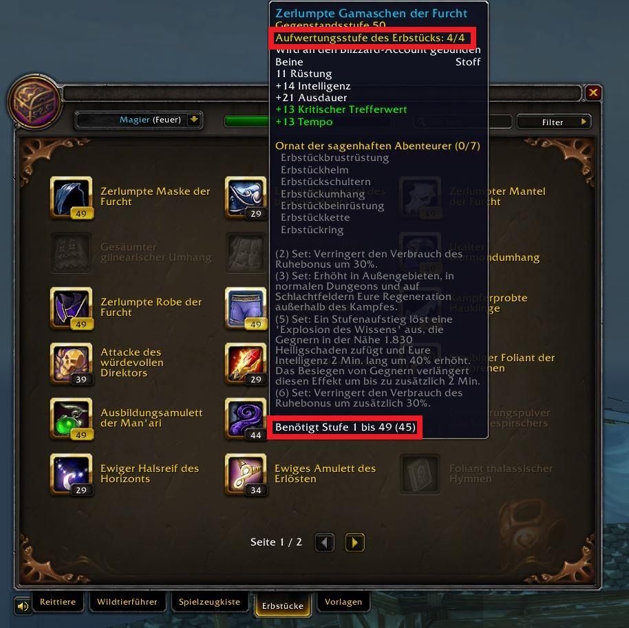 WoW heirlooms in collection captura de pantalla nuevo 2