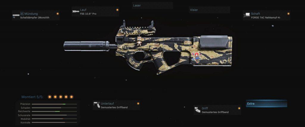 Configuración de p90 de armas de zona de guerra de bacalao