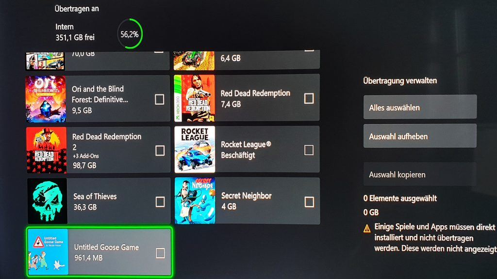 Transferencia de juegos Xbox Series X Xbox One