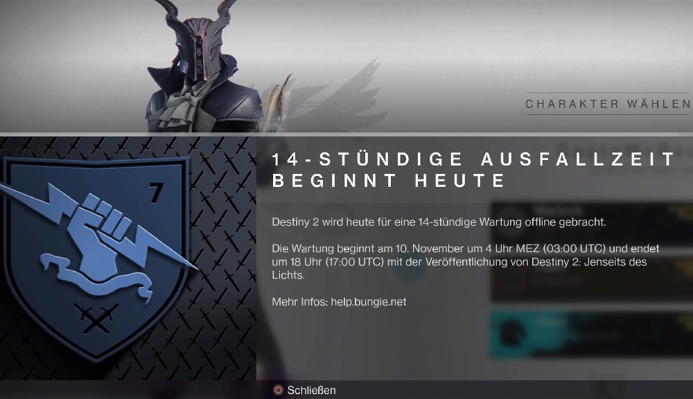 Destiny 2 Tiempo de inactividad más allá de la luz 14 horas