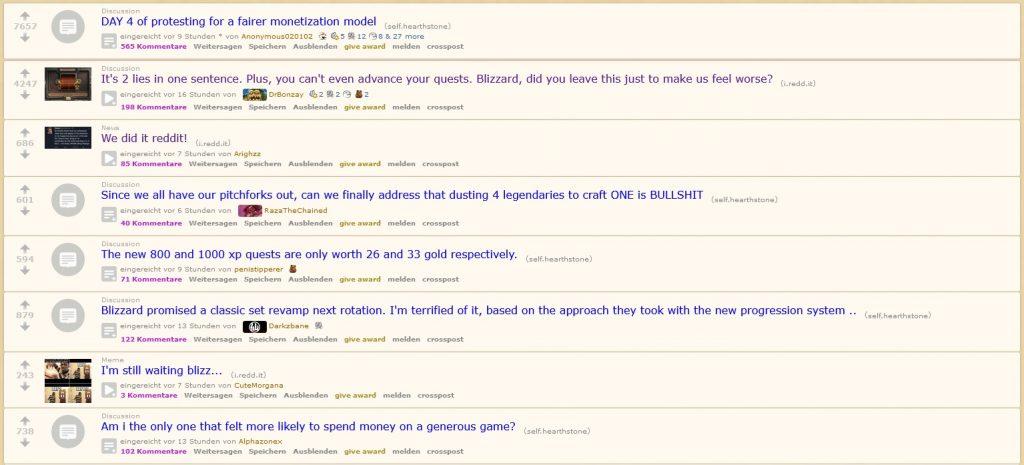 Reddit Hearthstone No es bueno