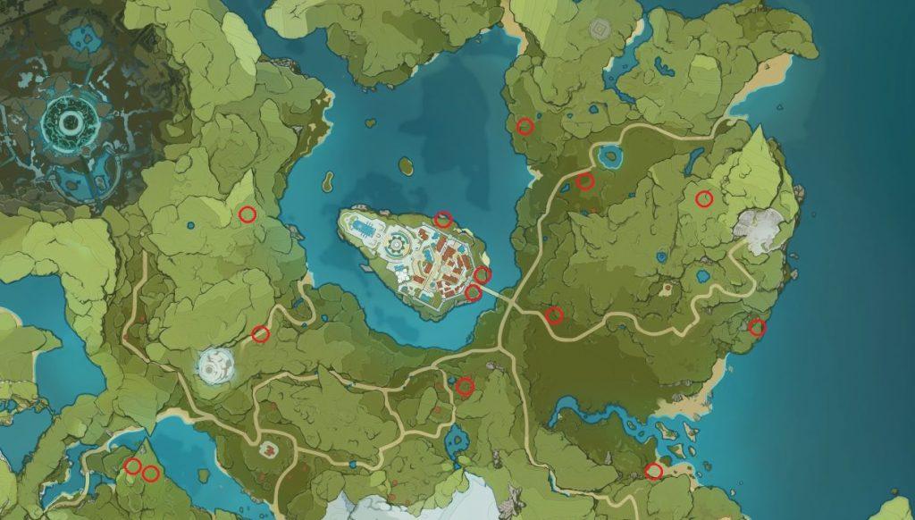 Mapa de impacto de Genshin de semillas de diente de león