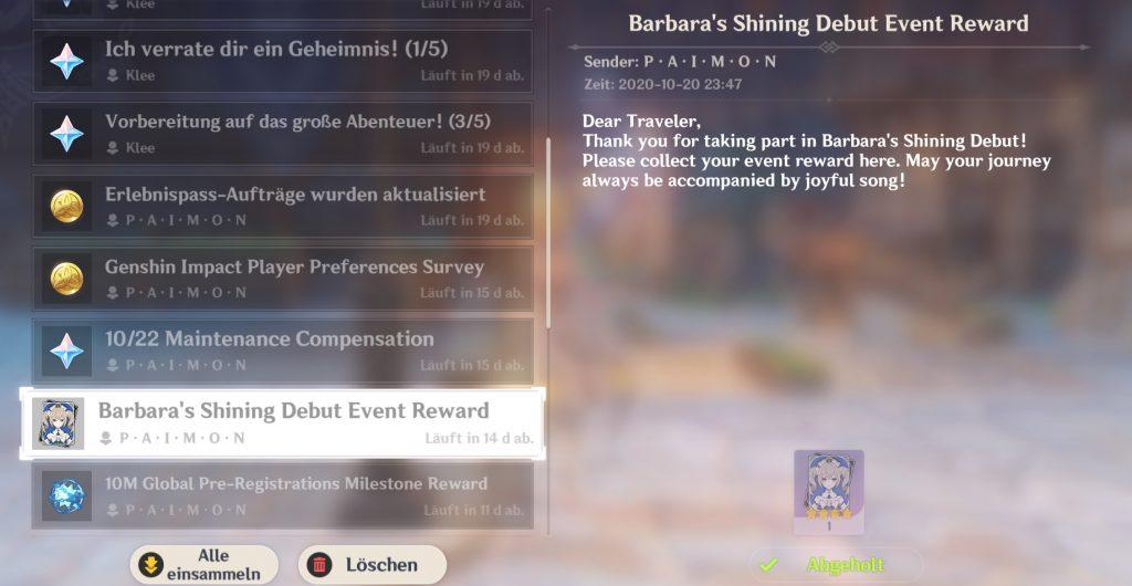 Mensaje de Genshin Impact Barbara