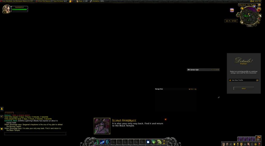 Cazador de demonios de pantalla negra de WoW