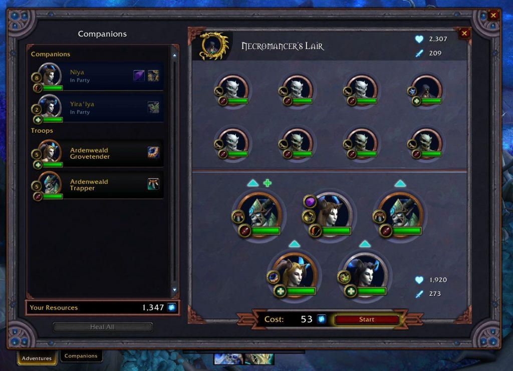 Tabla de misiones de WoW Shadowlands