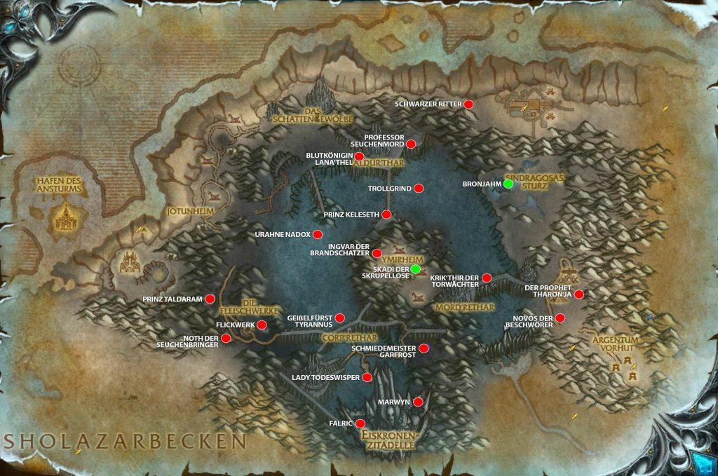 WoW Shadowlands Pre Event todos los jefes en el mapa vanion