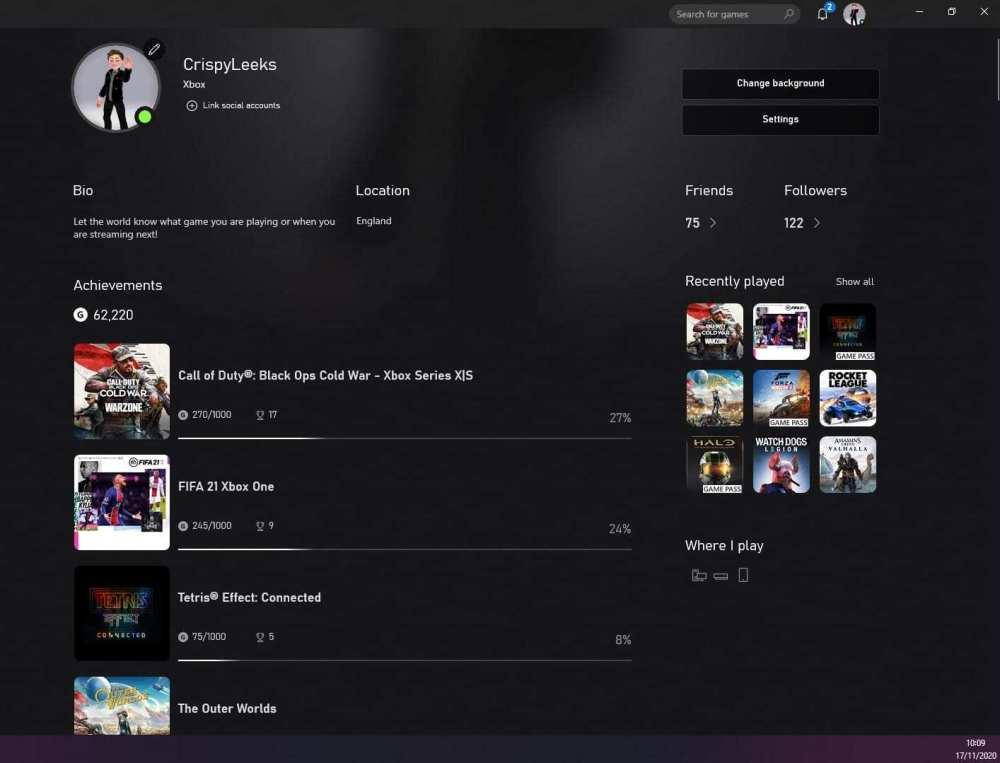 cambiar la foto de perfil en la aplicación xbox