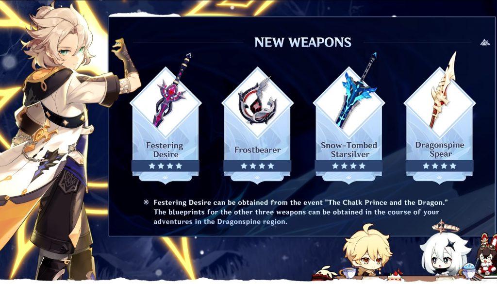 Genshin Imapct 1.2 nuevas armas