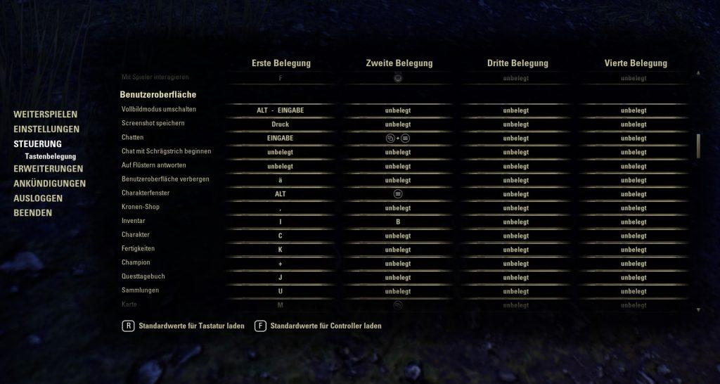 Interfaz de usuario de asignación de teclas de ESO