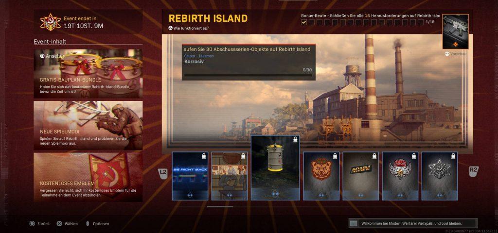 pantalla de evento de renacimiento de zona de guerra de bacalao