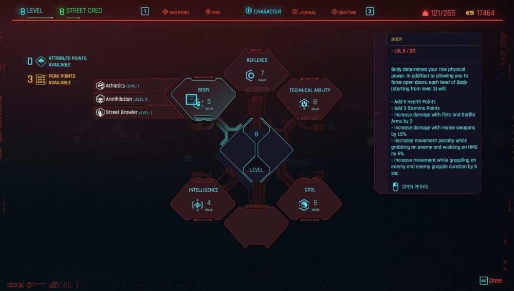 cyberpunk 2077 sexto atributo