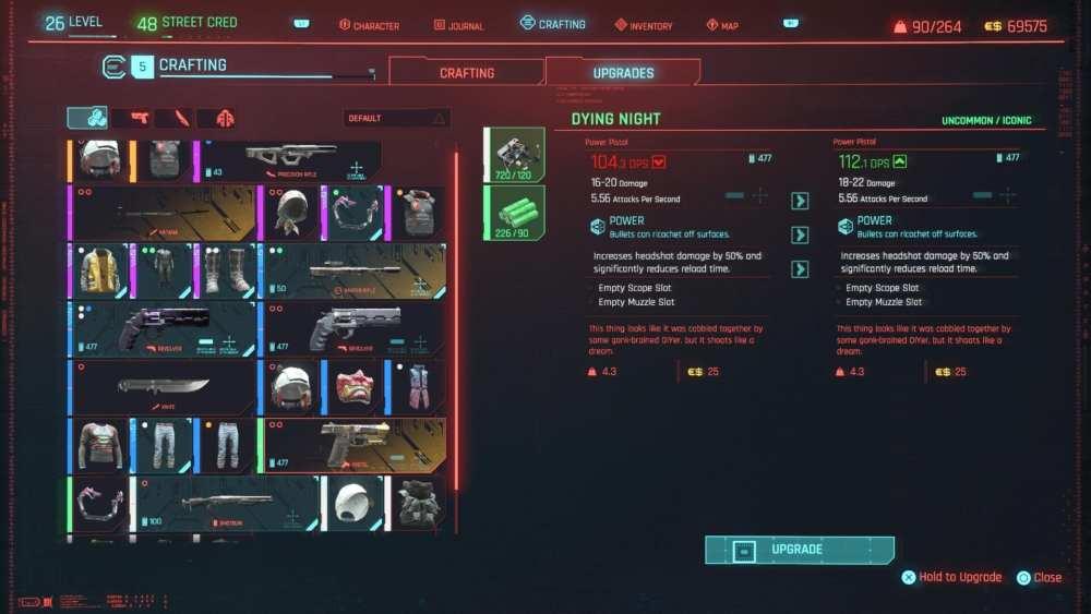 Cómo actualizar armas icónicas en Cyberpunk 2077