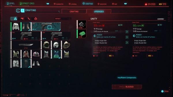 actualización de armas, cyberpunk 2077