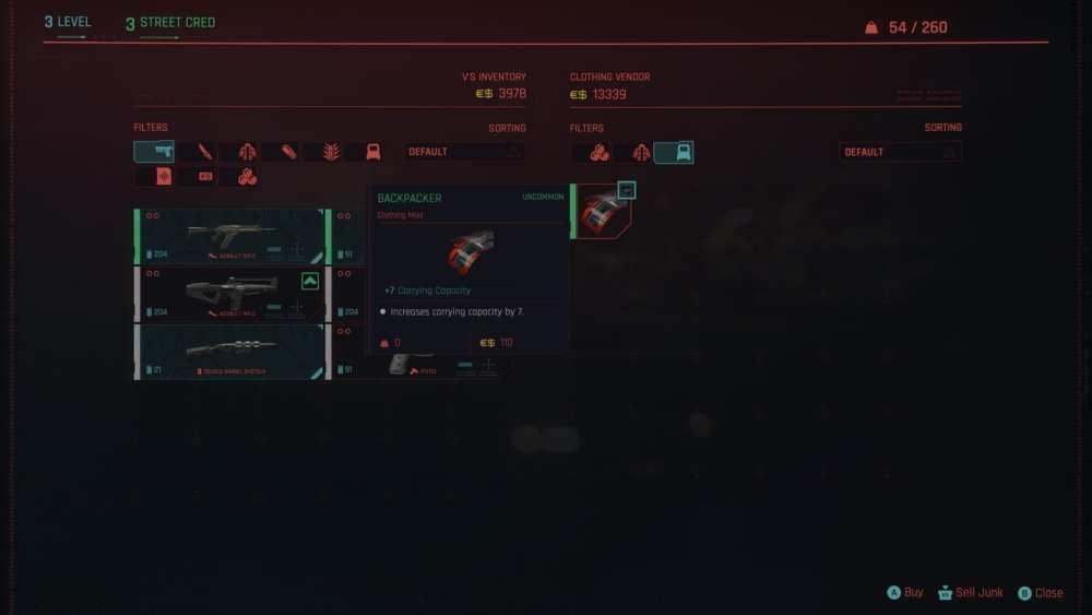 aumentar la capacidad de transporte en cyberpunk 2077