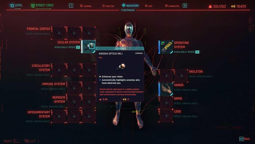 implantes cyberpunk 2077
