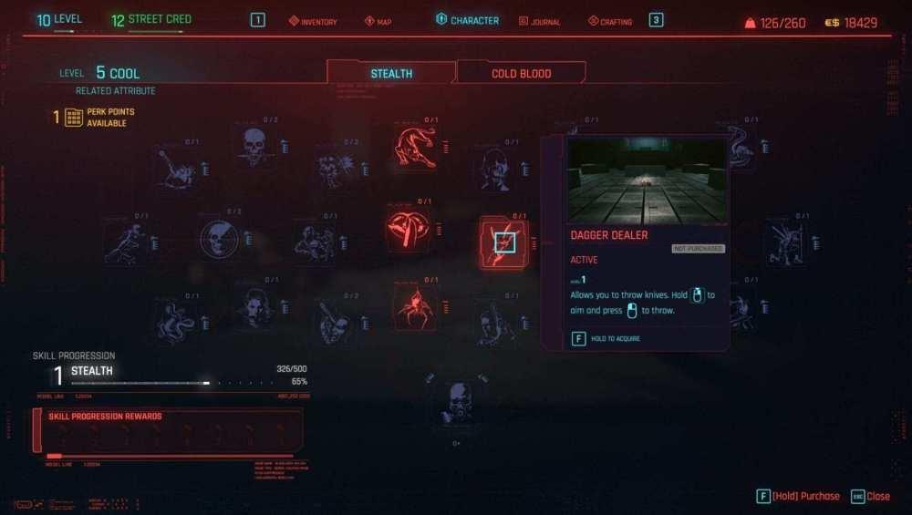 Cyberpunk 2077 lanzar cuchillos