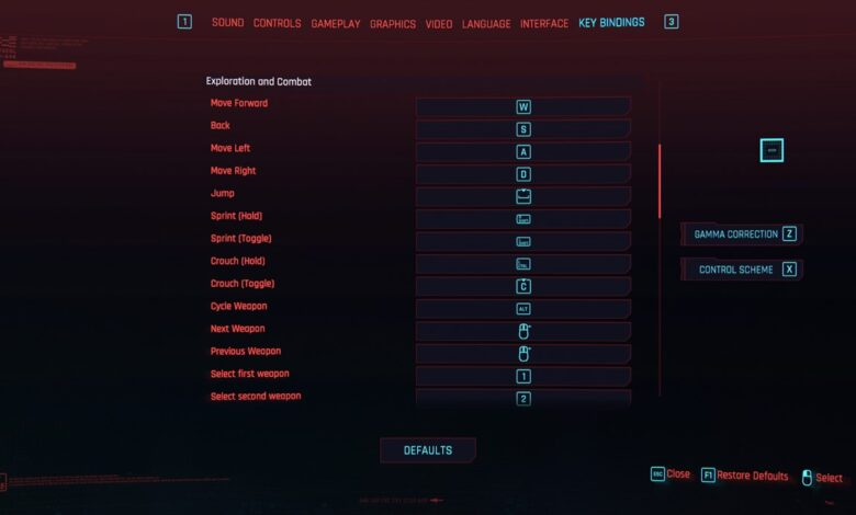 Cyberpunk 2077 - Controles y combinaciones de teclas