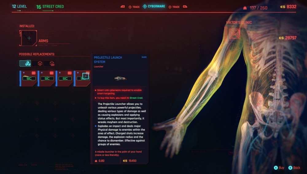 sistema de lanzamiento de proyectiles cyberpunk 2077