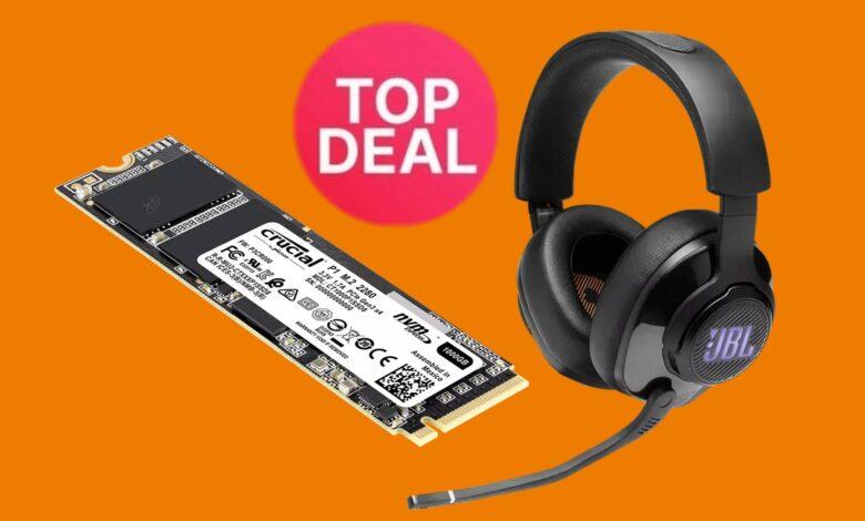 Fast Crucial SSD y buenos auriculares para juegos JBL al mejor precio en Saturn