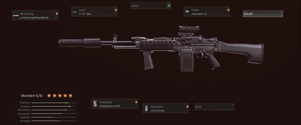 configuración de stoner 63 de armas de zona de guerra de bacalao