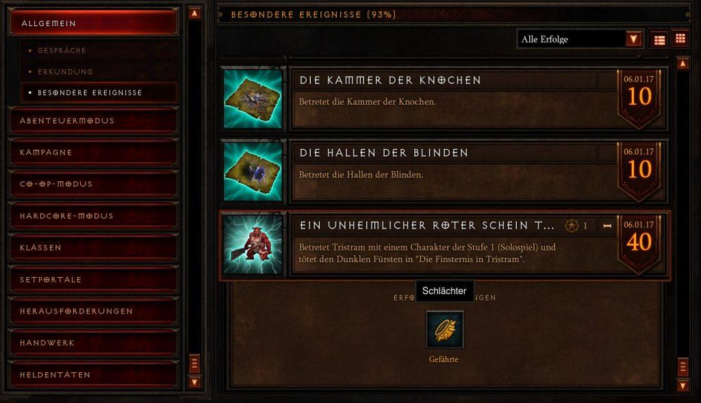 Logro de mascota de carnicero de Diablo 3 en el juego