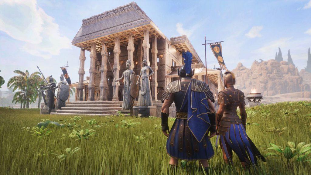 Conan Exiles Aquilonia DLC Roman City Palace desde el exterior