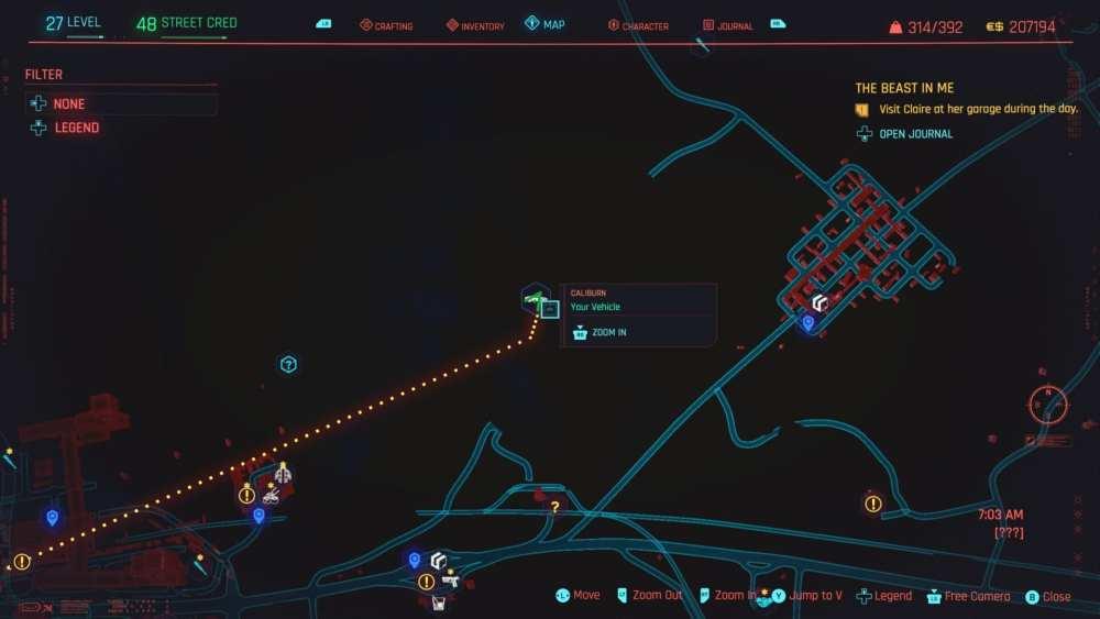Ubicación del batmobile Cyberpunk 2077