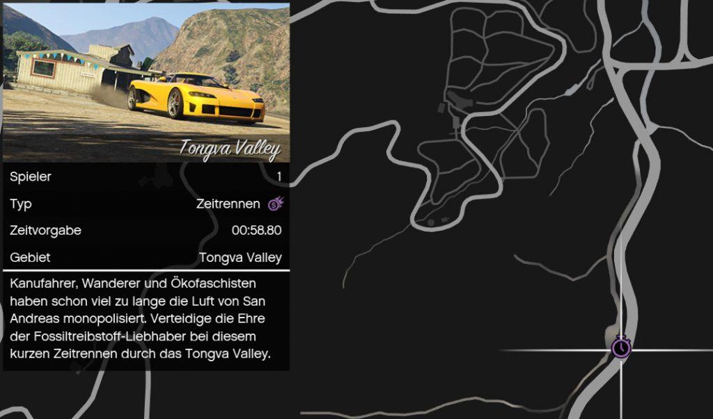 Contrarreloj de GTA Online en el mapa
