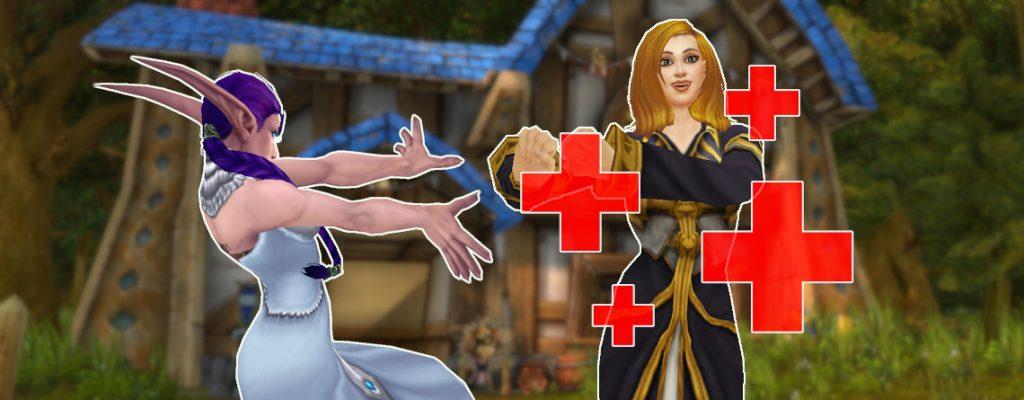 WoW Cruz Roja Primeros Auxilios elfo de la noche curativo mago título 1140x445