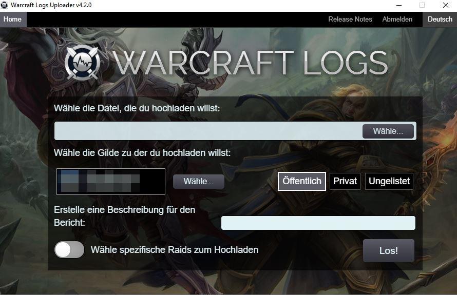 World of Warcraft Analyzer cargador de warcraftlogs 2