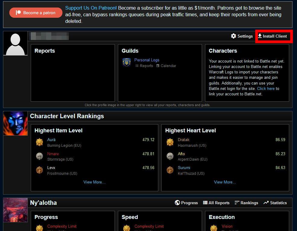 Cuenta de warcraftlogs de World of Warcraft Analyzer