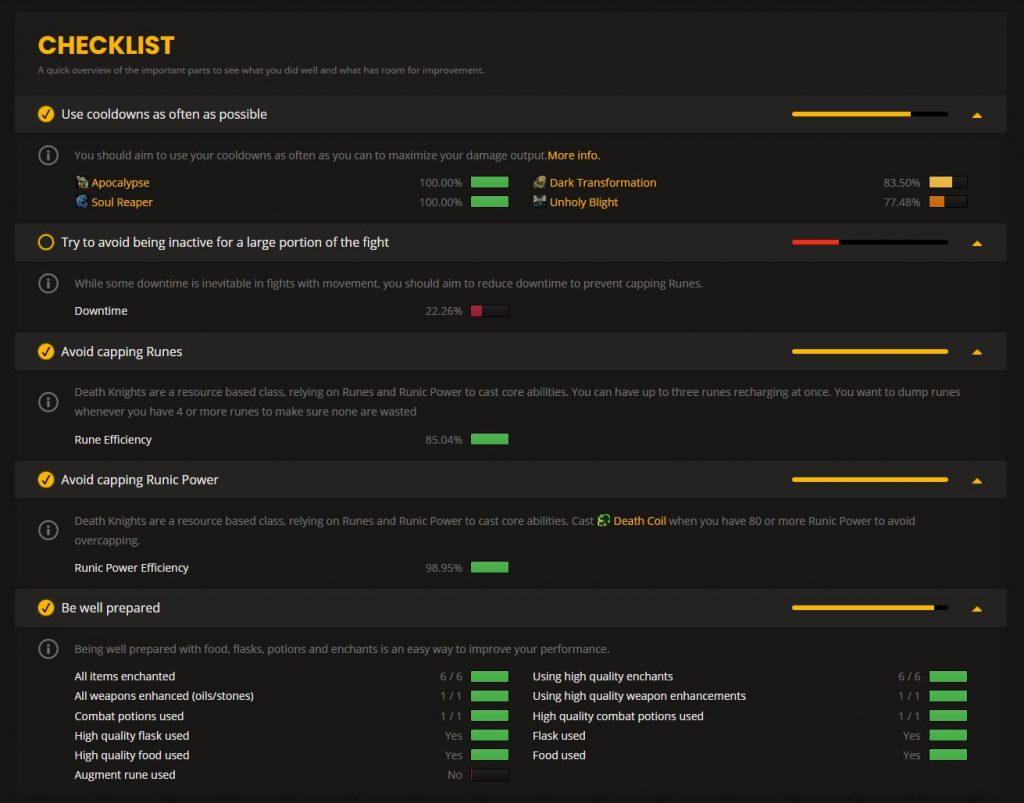 wow analizador lista de verificación dk