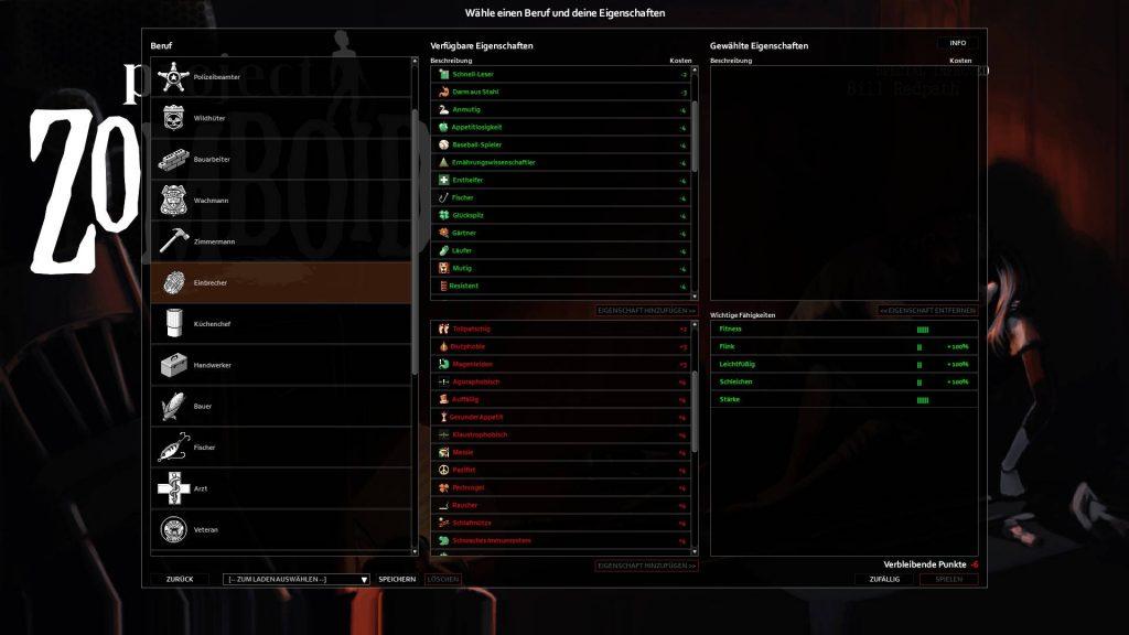 Proyecto de selección de habilidades zomboid para comenzar