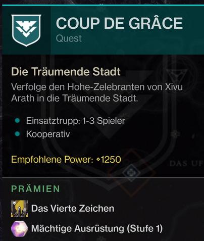 Golpe de gracia Loot Mission Hunt Destiny 2