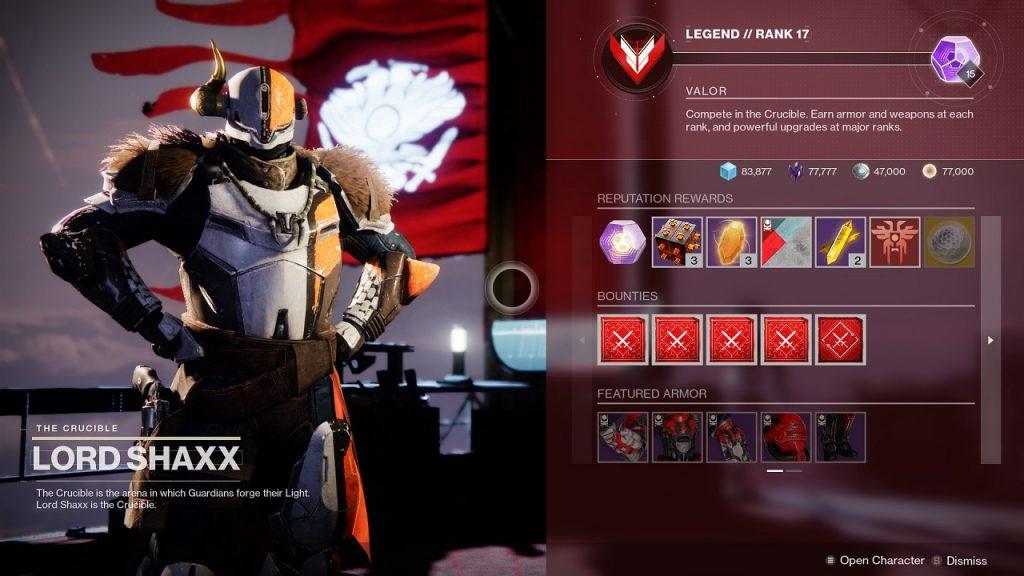 Sistema de recompensas Shaxx PvP sin tokens Destiny 2