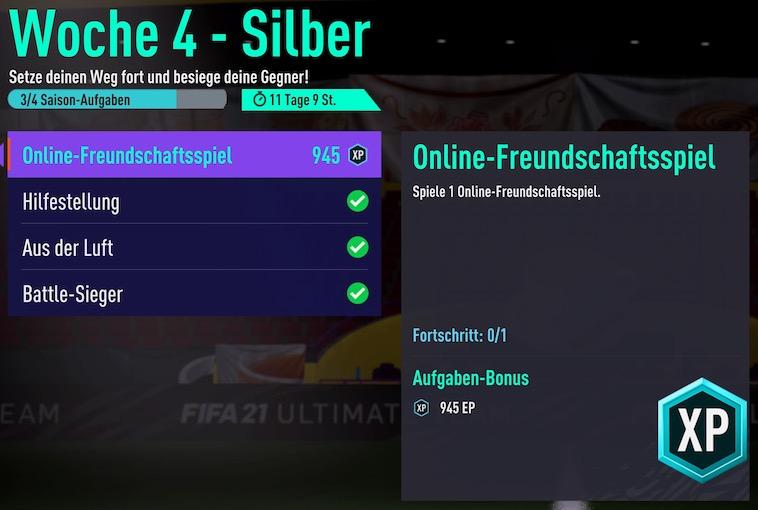 El juego amistoso de FIFA 21 Week 4 Silver Online no funciona