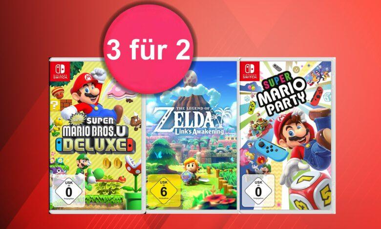 """Promoción """"3 por 2"""" con descuento en juegos de Nintendo Switch en Amazon"""