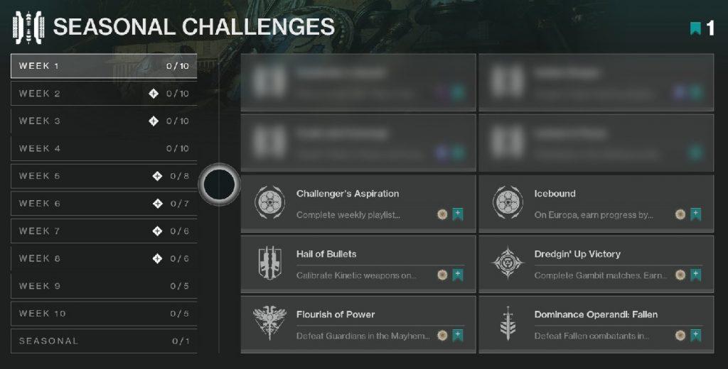 Desafíos de temporada Desafíos Destiny 2